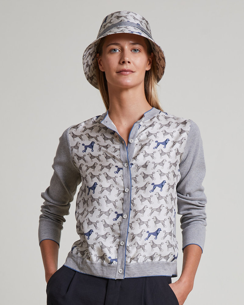 PRINTED SILK-COTTON KNIT CARDIGAN: POODLE: GRAY