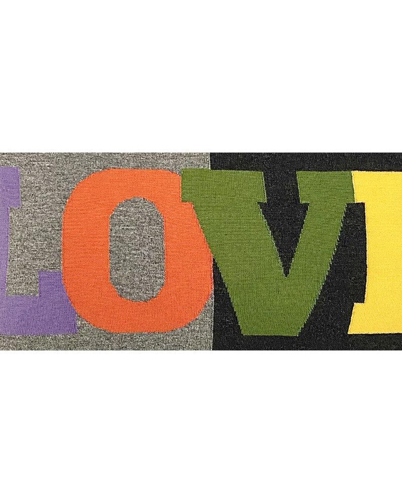 "LOVE PILLOW: CASHMERE: 16"" X 24"": PURPLE-ORANGE-GREEN-YELLOW-GRAY"