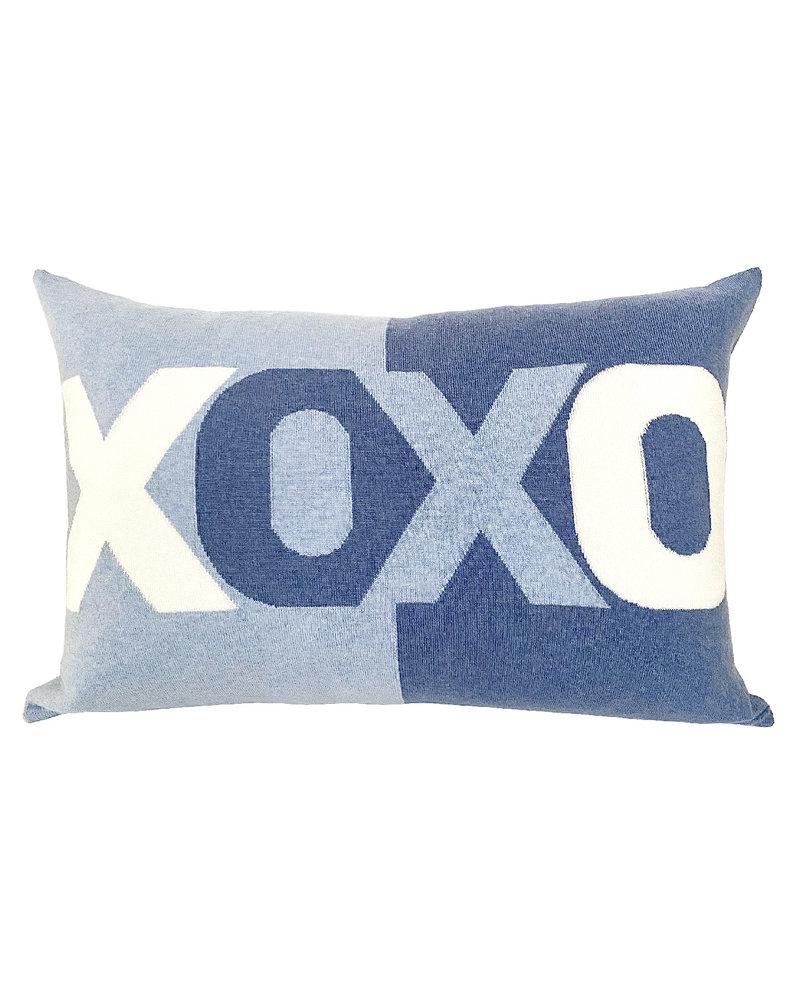 """XOXO PILLOW: 16"""" X 24"""":BLUE-LIGHT BLUE"""