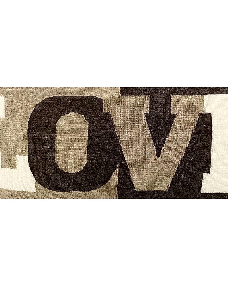 "LOVE PILLOW: CASHMERE: 16"" X 24"": BROWN"