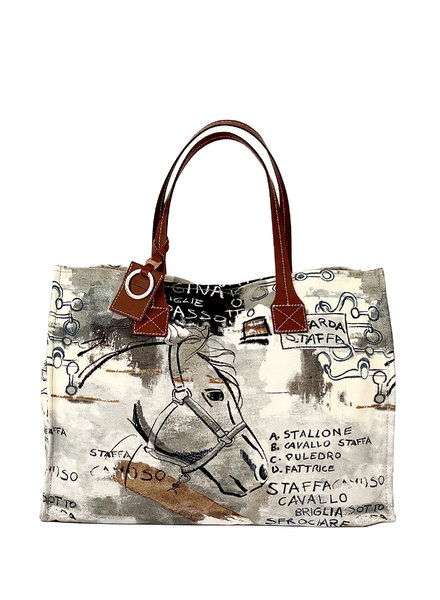 TOTE BAG SMALL: GRAPHIC: BROWN