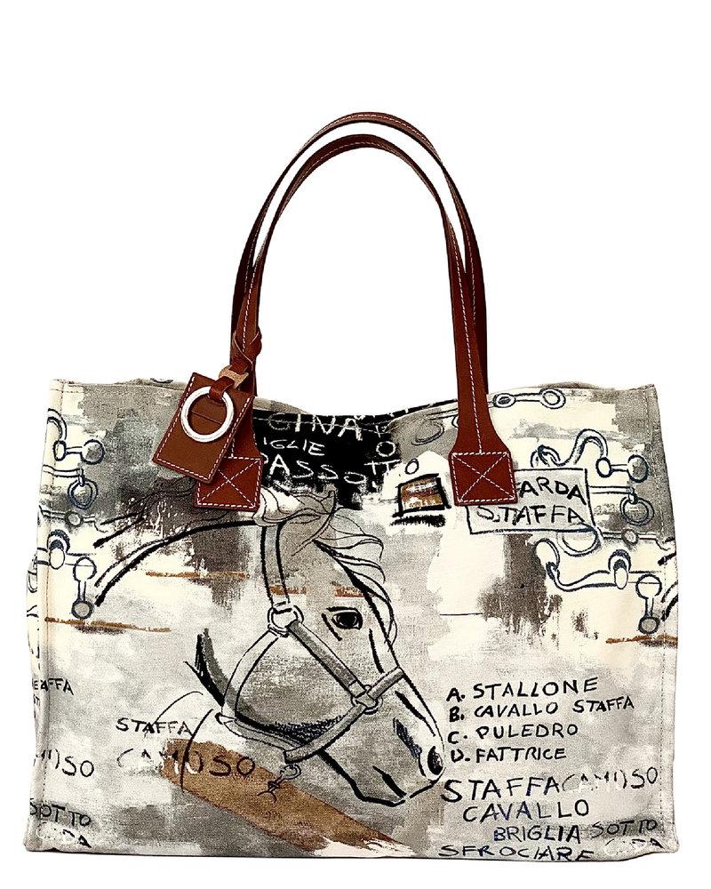 PRINTED SMALL BAG: GRAPHIC: BROWN