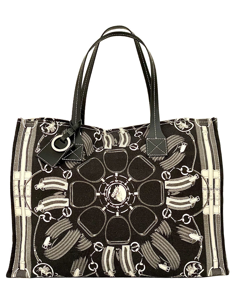 PRINTED SMALL BAG: STIRRUPS: BLACK