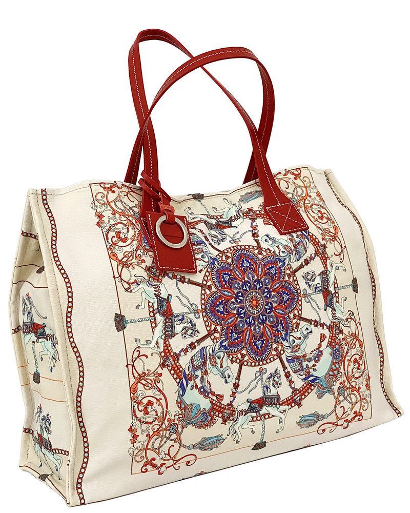 PRINTED SMALL BAG: TOY HORSES: WHITE