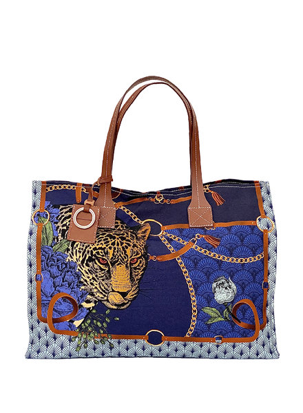 TOTE BAG SMALL: LEOPARD: NAVY
