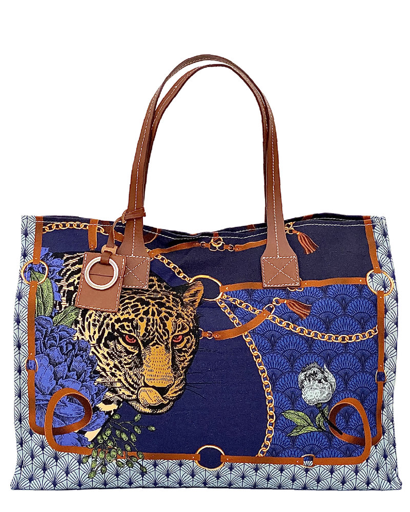 PRINTED SMALL BAG: LEOPARD: NAVY