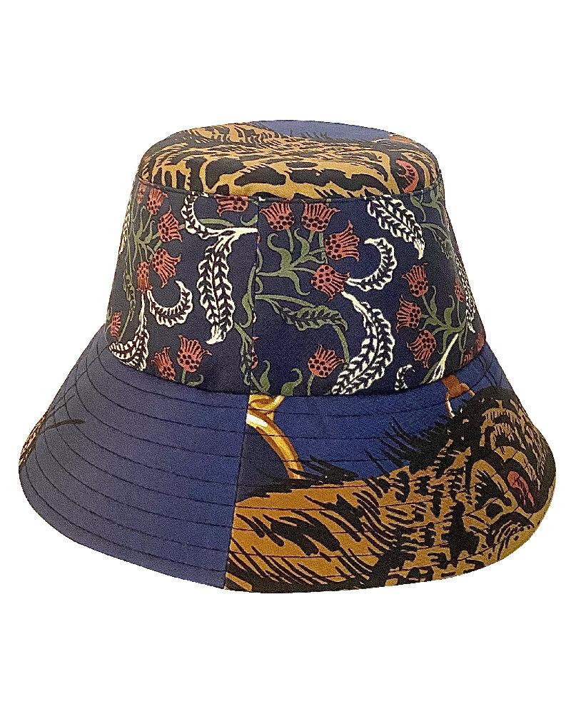 PRINTED SILK BUCKET HAT: LEOPARD: NAVY
