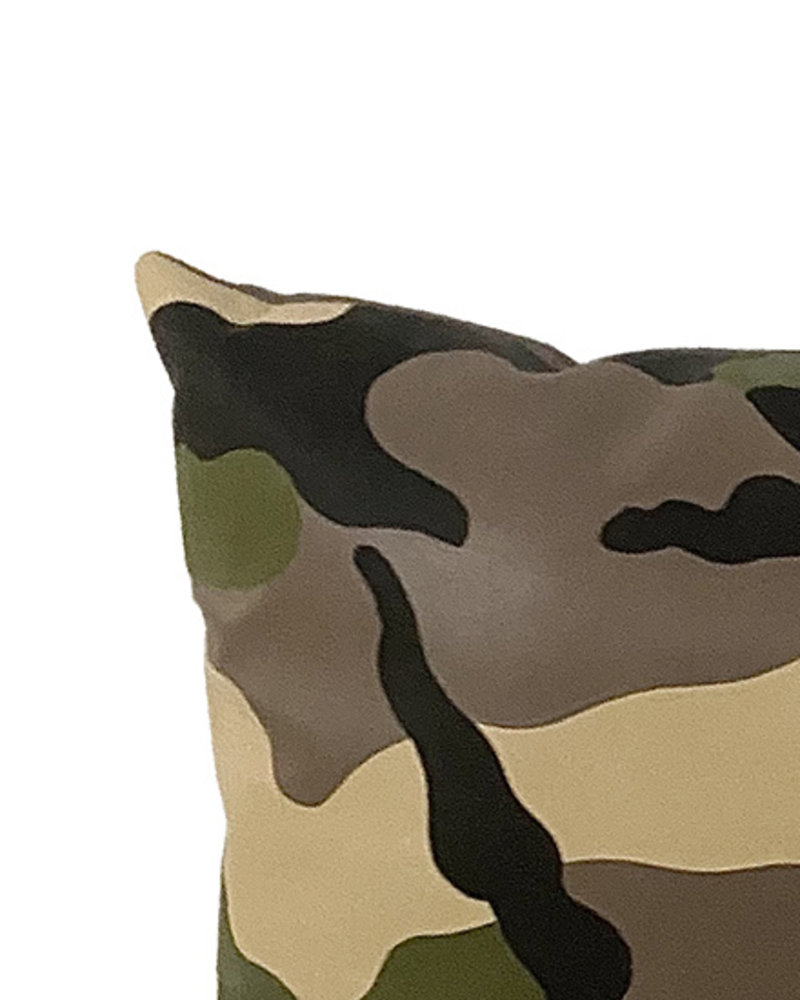 CAMOUFLAGE LEATHER PILLOW: BLACK-BEIGE-GREEN