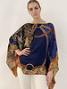 PRINTED CASHMERE PONCHO: LEOPARD: NAVY