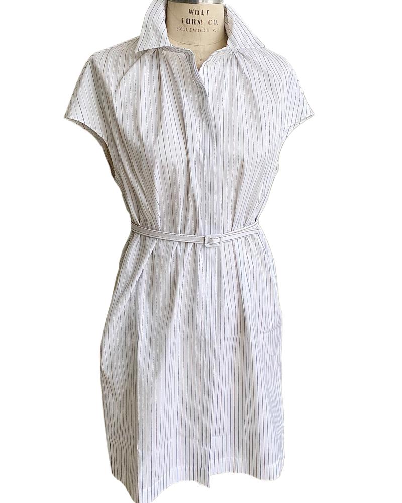 COTTON DRESS: MULTI SMALL STRIPES