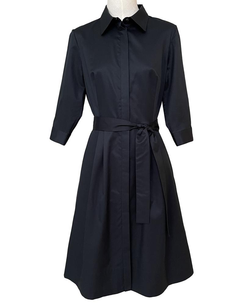 COTTON SHIRT MID SLEEVES DRESS: BLACK