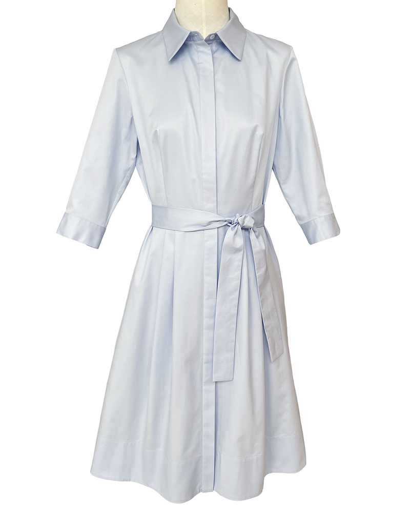 COTTON SHIRT MID SLEEVES DRESS: LIGHT BLUE