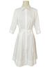 COTTON SHIRT MID SLEEVES DRESS: WHITE