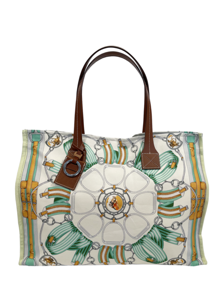 TOTE BAG SMALL: STIRRUPS: GREEN FOREST