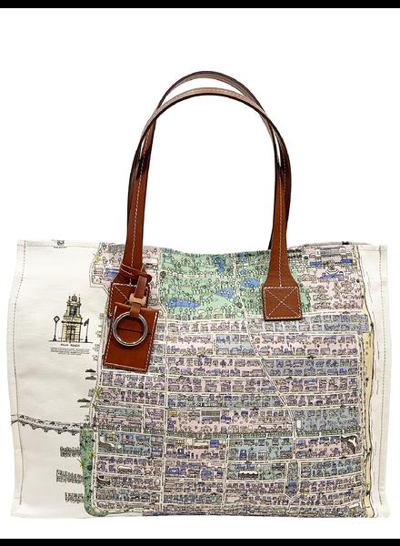 TOTE BAG SMALL: PALM BEACH: LILAC-GREEN