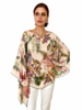PRINTED CASHMERE PONCHO: BIRDS: PINK