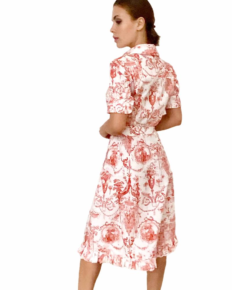 COTTON SHIRT DRESS W/ RUFFLES DETAILS: TOILE DU JOUY-RED HIBISCUS