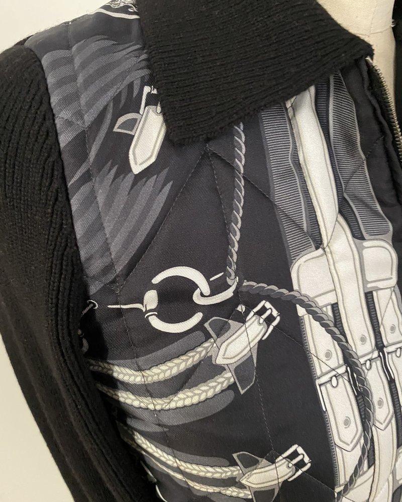 CASHMERE KNIT-SILK PRINTED SWEATER: STIRRUPS BLACK-BLACK KNIT