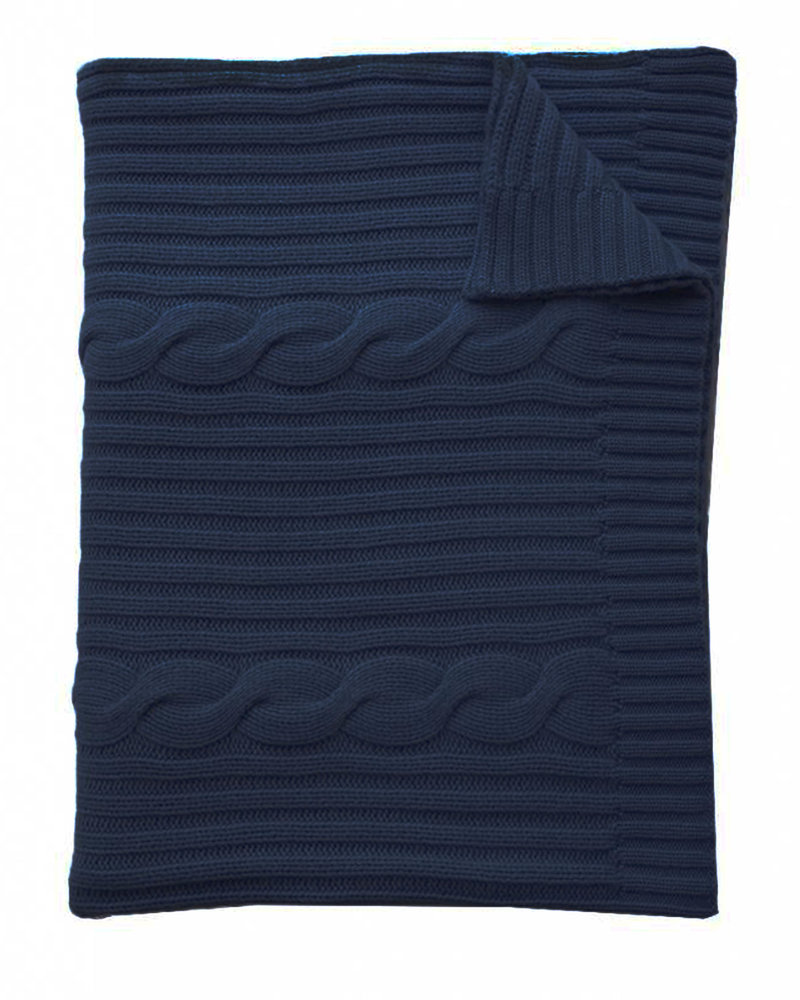 """CASHMERE ROMA CABLE KNIT THROW: 50"""" X 72"""" NAVY"""