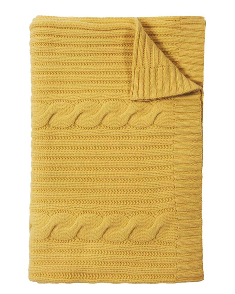 """CASHMERE ROMA CABLE KNIT THROW: 50"""" X 72"""": SUN"""