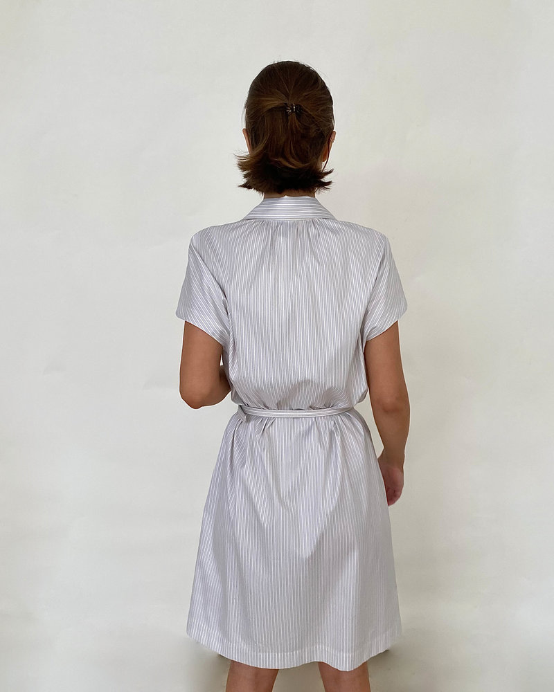 COTTON SHIRT MID SLEEVES DRESS: BLUE-WHITE STRIPES