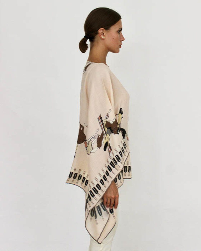 CASHMERE PRINTED PONCHO: AMERICAN INDIAN: PINK