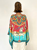 PRINTED CASHMERE PONCHO: TOY HORSES: TURQUOISE - Copy