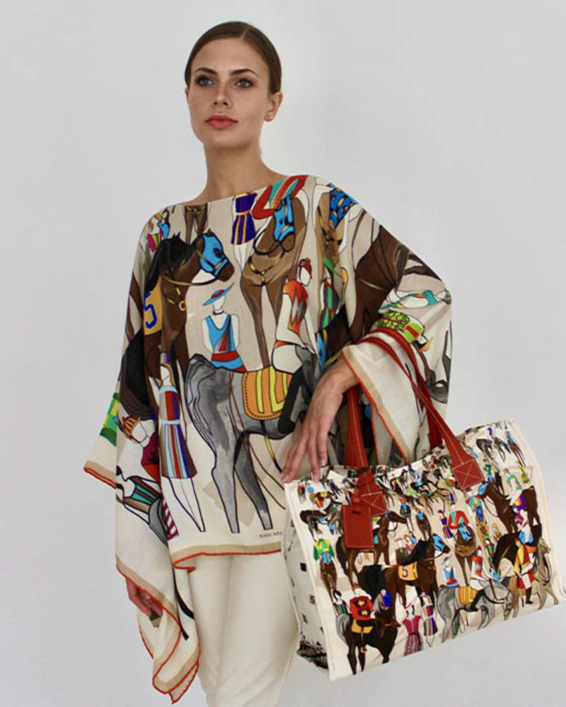PRINTED CASHMERE PONCHO: AFTER THE RACE: MULTICOLOR