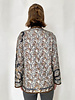 COLLARLESS REVERSIBLE SILK PRINTED QUILTED JACKET: LEOPARD-AMAZONIA BROWN