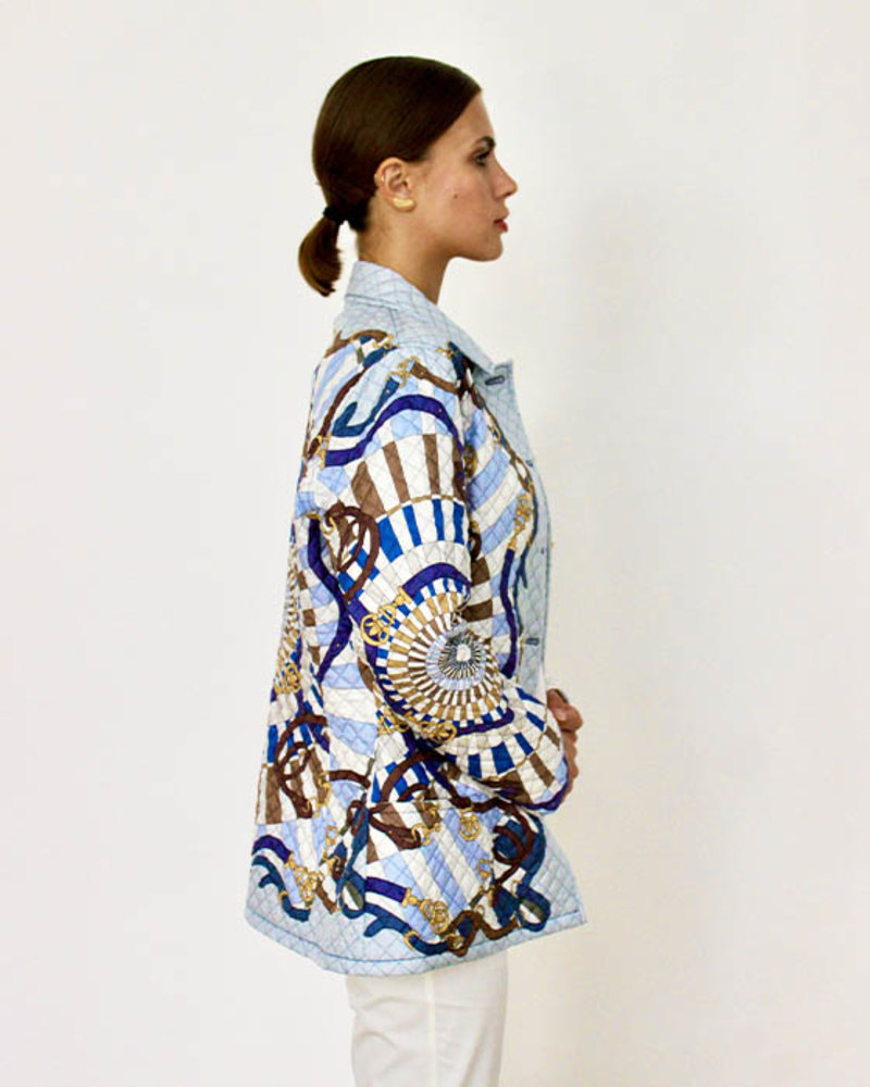 SILK PRINTED QUILTED JACKET: FIRENZE BLUE