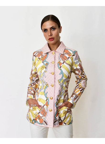 SILK PRINTED QUILTED JACKET: FIRENZE