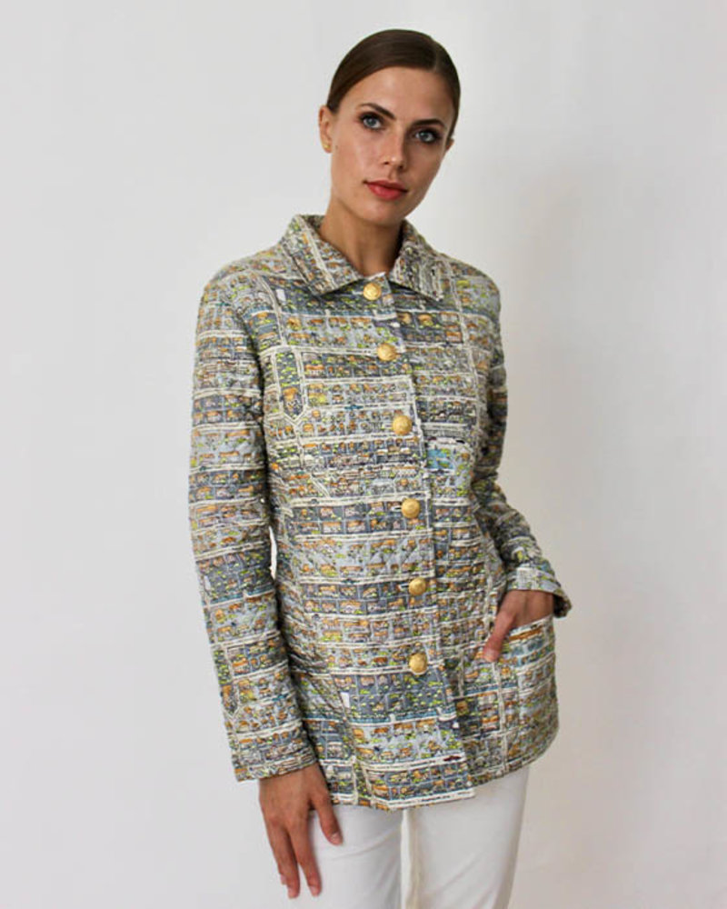 SILK PRINTED QUILTED JACKET: PALM BEACH MULTICOLOR: