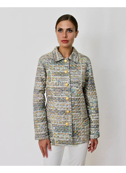 SILK PRINTED QUILTED JACKET: PALM BEACH MULTICOLOR