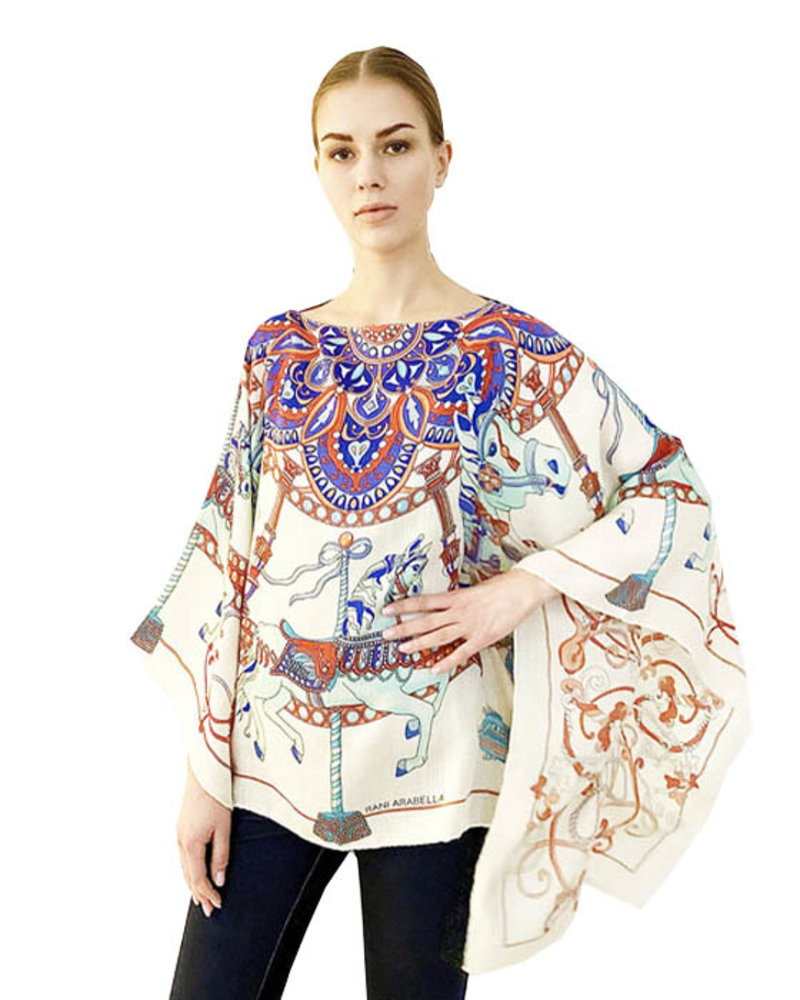CASHMERE PRINTED PONCHO: TOY HORSES: WHITE