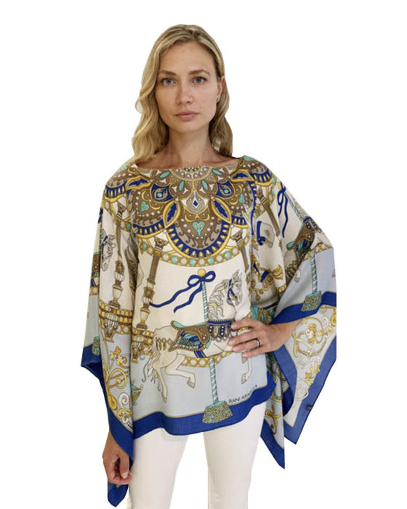 CASHMERE PRINTED PONCHO: TOY HORSES: BLUE
