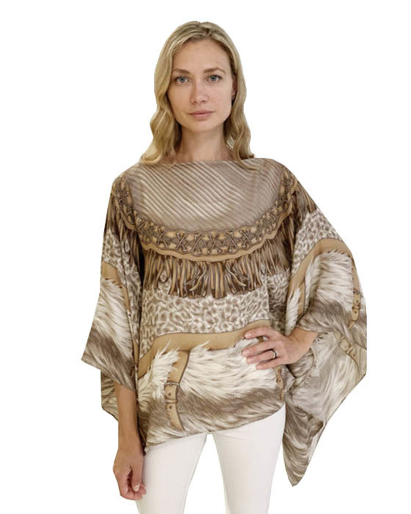 PRINTED CASHMERE PONCHO: FEATHERS: TAUPE