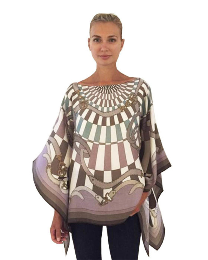 CASHMERE PRINTED PONCHO: FIRENZE: LAVENDER-BROWN