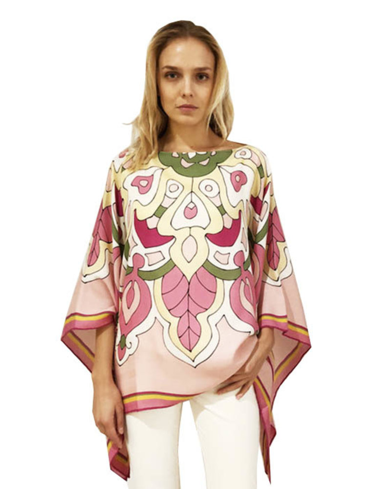 CASHMERE PRINTED PONCHO: SAVOIA: PINK
