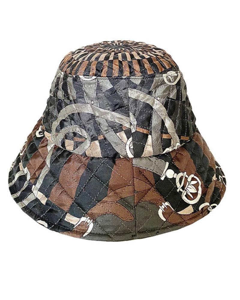 PRINTED SILK BUCKET HAT: FIRENZE CHOC