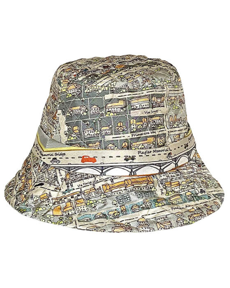 PRINTED SILK BUCKET HAT:PALM BEACH