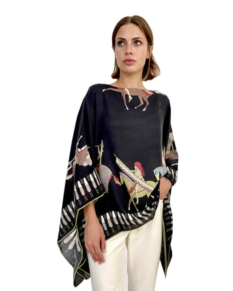 CASHMERE PRINTED PONCHO: AMERICAN INDIAN: BLACK