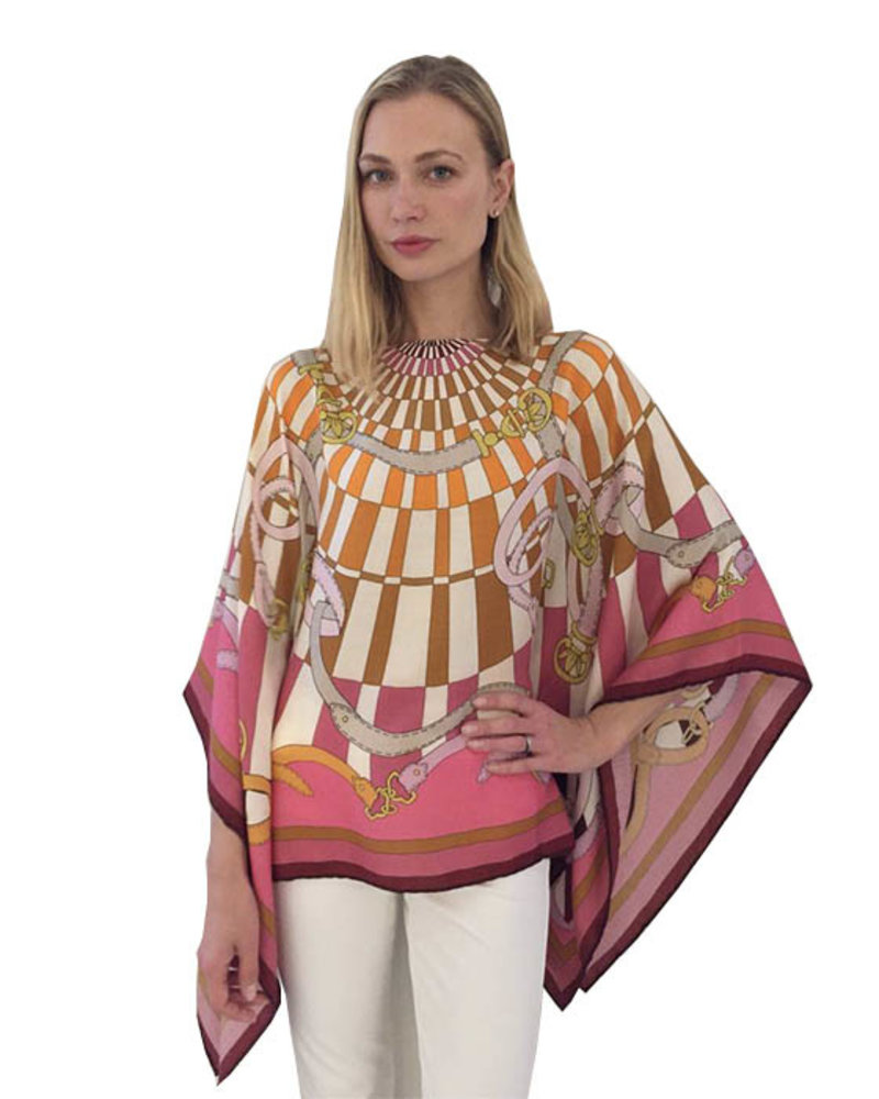 CASHMERE PRINTED PONCHO: FIRENZE: RED