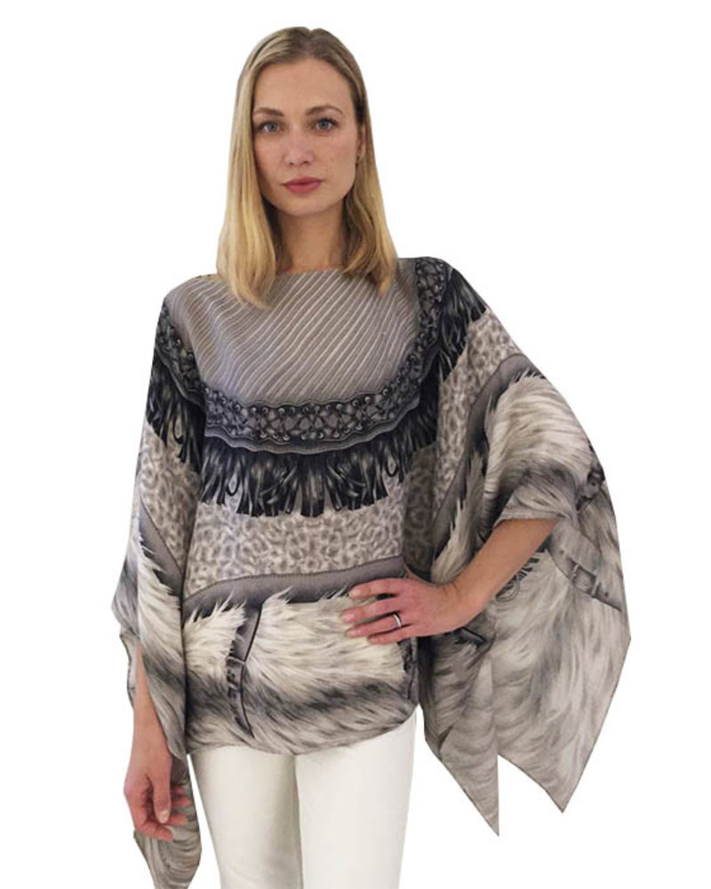 PRINTED CASHMERE PONCHO: FEATHERS: GRAY
