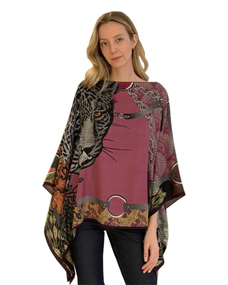 PRINTED CASHMERE PONCHO: LEOPARD: ROSE