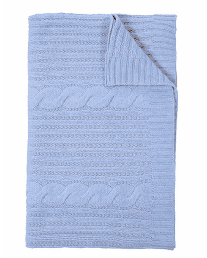 """CASHMERE ROMA CABLE KNIT THROW: 50"""" X 72"""": Celeste"""
