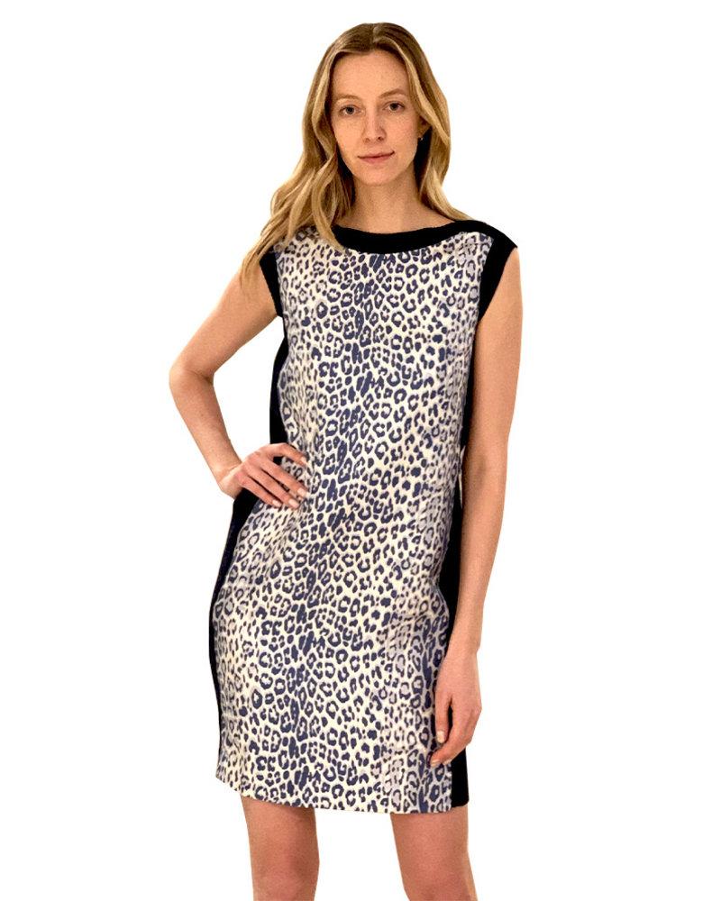 SILK SCARF PRINT DRESS W/ COTTON KNIT: LEOPARD-BLUE