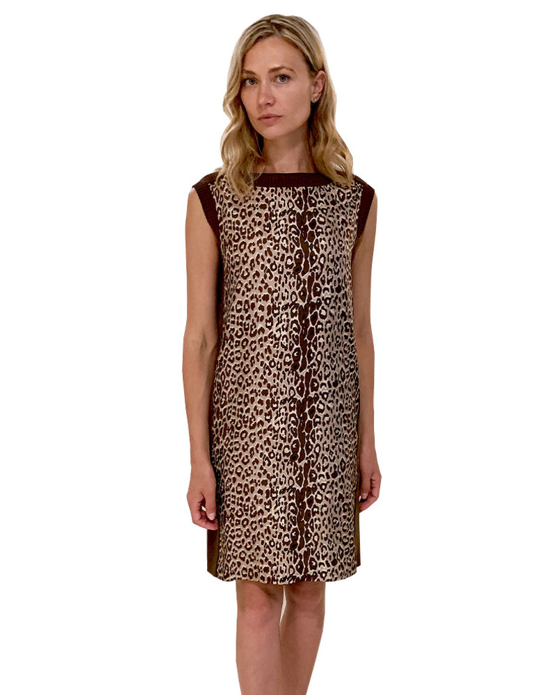 SILK SCARF PRINT DRESS W/ COTTON KNIT: LEOPARD-BEIGE