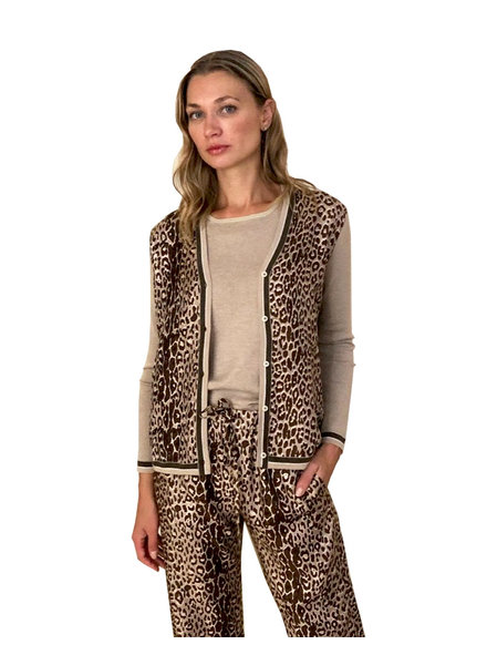CASHMERE KNIT CARDIGAN WITH SILK PRINT