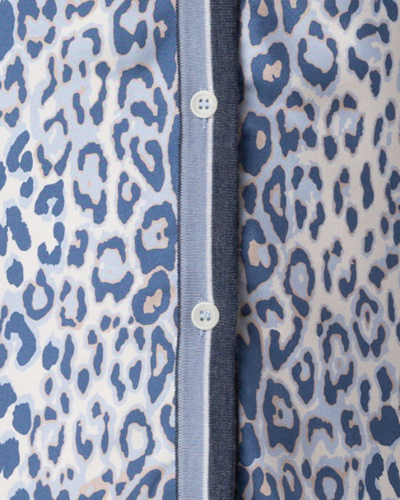 CASHMERE KNIT CARDIGAN WITH SILK PRINT: LEOPARD: BLUE