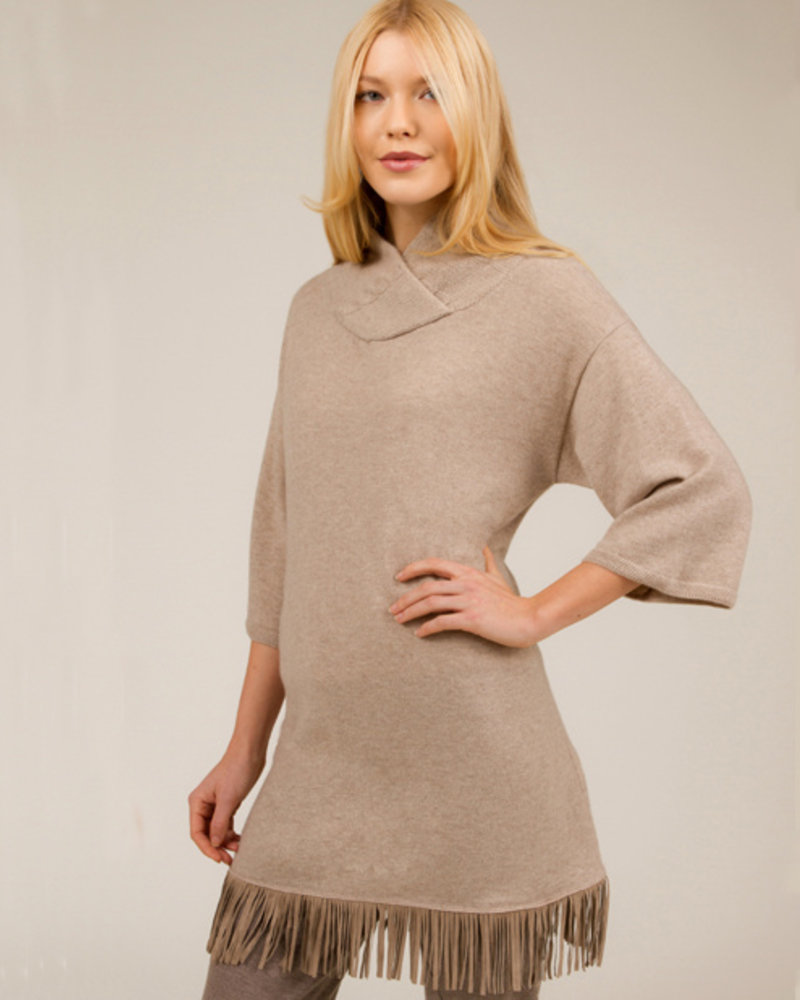 SWEATER DRESS WITH SUEDE FRINGE DETAIL:  100% CASHMERE: CAMEL